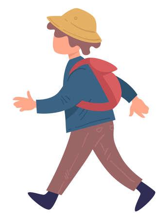 Kid wearing hat and rucksack walking, traveling child Illusztráció