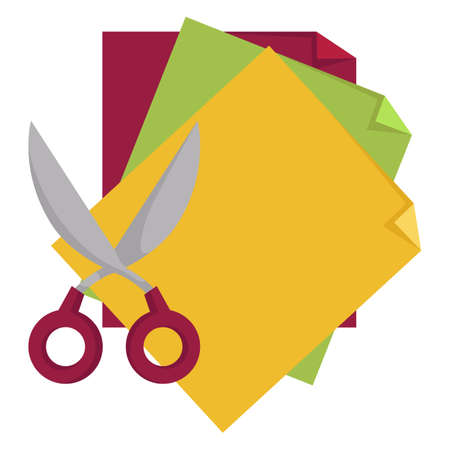 School supplies, scissors and sticky notes notepad vector