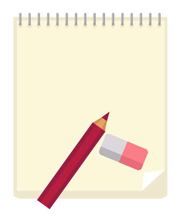 Notepad for taking notes and pencil with eraser
