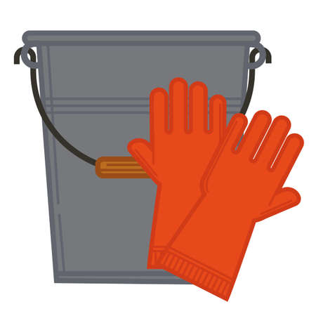 Bucket and rubber gloves, household chores or company
