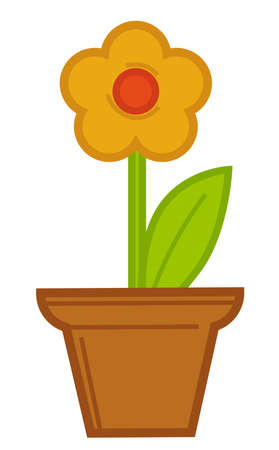 Flower growing in pot, flourishing of potted flower 일러스트