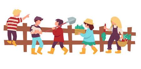 Children in rural area, kids helping at farm