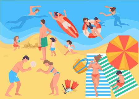 Summer vacation, people spending holidays by seaside vector