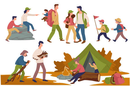 Camping people, children and parents spending time together