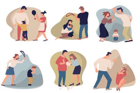 Domestic violence and aggression in families, people quarreling Ilustração