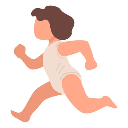 Running child, toddler in motion, small kid vector