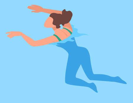 Woman swimming in sea, ocean or pool, summer vacation