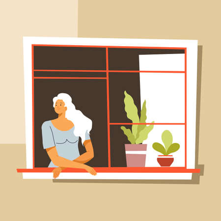 Quarantine boredom at home, woman looking outside window Illustration