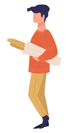 Male character carrying French baguette, shopping man vector Ilustrace