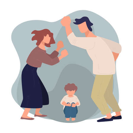 Wife and husband quarreling before scared kid, violence and aggression Illustration