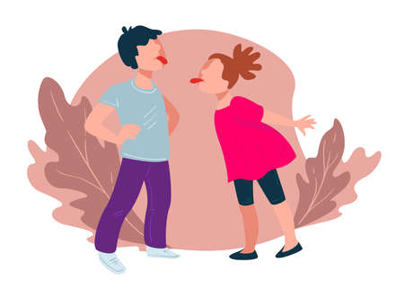 Teasing children showing tongues, boy and girl vector Banque d'images - 150891792