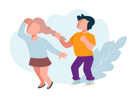 Boy pulling girls hair, little bully at school Illustration