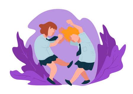 Children having fight, punching small girls at school Illustration