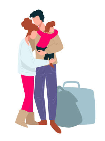 Family members hugging, traveling people going on trip Ilustracja