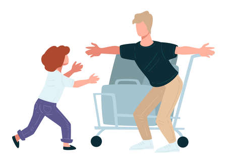 Kid running to dad returning home from trip Ilustracja