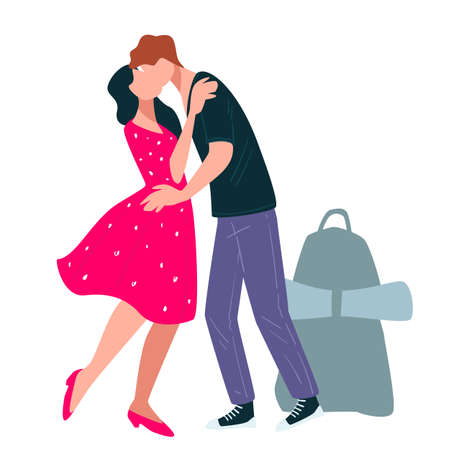 Woman kissing man with baggage, traveling couple in love