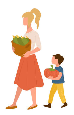 Mother and son shopping at market carrying vegetables Ilustracja