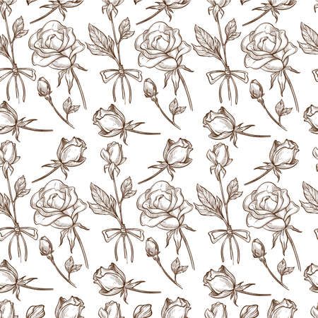 Flourishing roses on stems, flower in bloom seamless pattern Banque d'images - 151457849