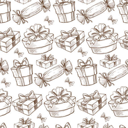 Presents and gifts decorated with ribbon bows seamless pattern