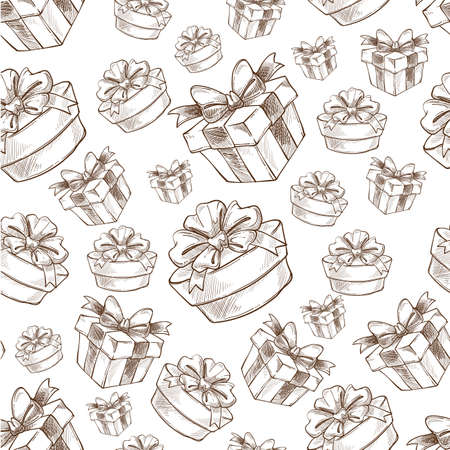 Gifts and presents decorated with ribbon bows seamless pattern