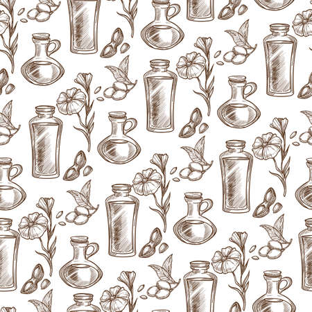 Linen flower and oil poured in jar, seamless pattern Banque d'images