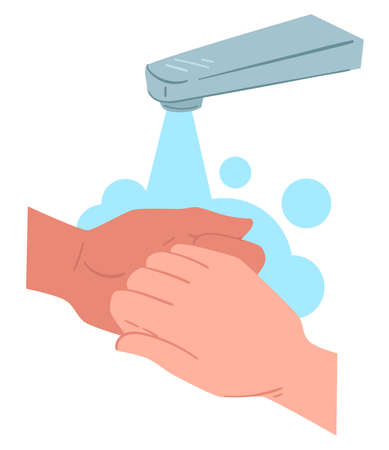 Washing and rubbing hands, hygiene and protective measure Banque d'images - 151457853