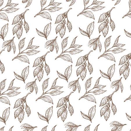 Flower foliage print, floral leaves monochrome seamless pattern Banque d'images - 151457858