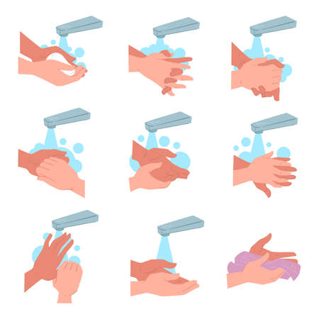 Advice on how to wash and dry hands Banque d'images - 151457859