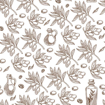 Olives plant, branches with berries and oil seamless pattern