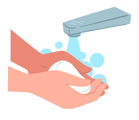 Washing hands with soap, personal hygiene and care