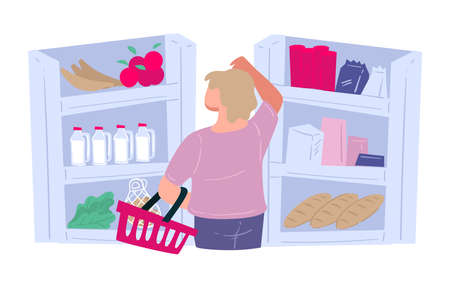 Woman buying groceries choosing products in supermarket vector Banque d'images - 151933996