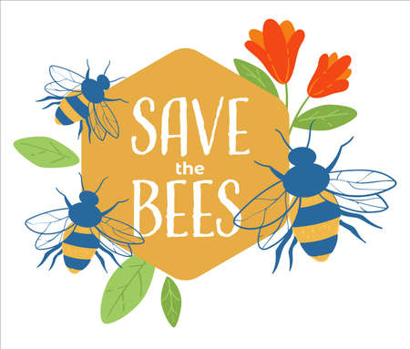 Save bees, care for environment and nature banner