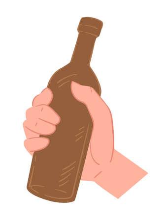 Hand holding bottle of beer, pub or bar Banque d'images - 151934152