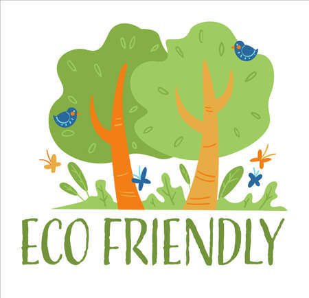 Eco friendly plants and production, forest with flowers