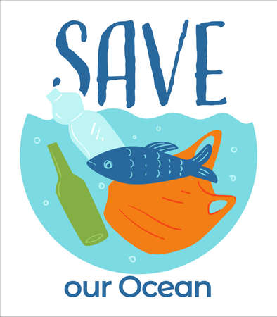 Save our ocean, water filled with plastic and litter Illustration