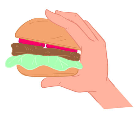 Hand holding fatty burger with meat and vegetables Ilustracja