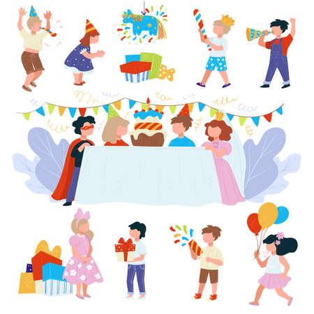 Happy birthday party for children, festivity and celebration Illustration