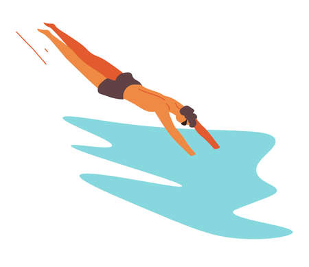 Man jumping in water, swimming sportive character training