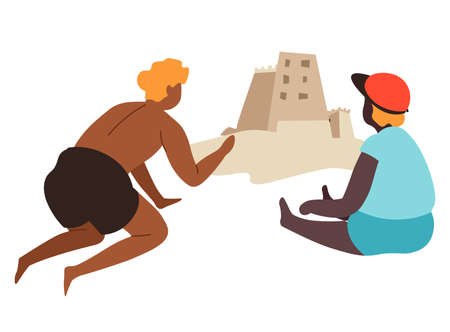 Characters building sand castles by seaside at summer Illustration