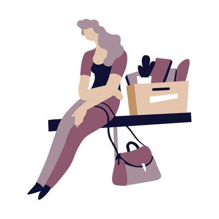 Depressed woman sitting by carton box with personal stuff Vektorové ilustrace