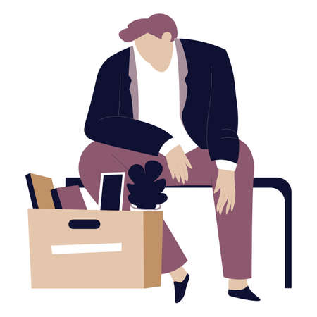 Frustrated man fired or discharged from office work Illustration