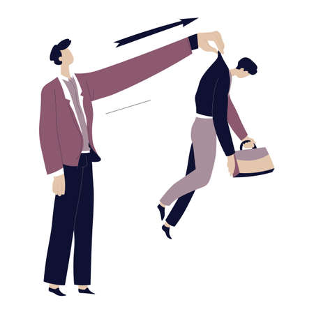 Boss throwing away worker, employer sacking employee vector Banque d'images - 152009998