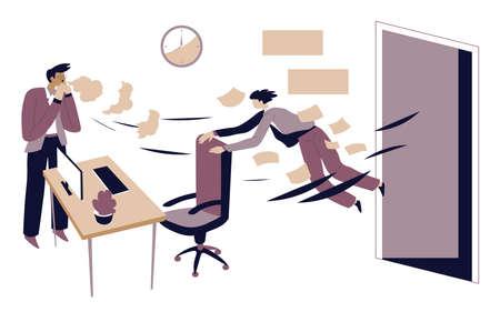 Boss sacking office worker, jobless character dismissal vector