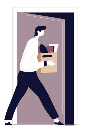 Dismissed male character walking away with box of stuff