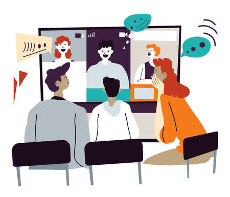 Videoconference or meeting with partners online, distant communication