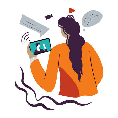 Woman talking via videoconference using smartphone, connection and communication