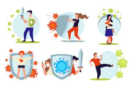People fighting against diseases, viruses and bacteria vector Illustration