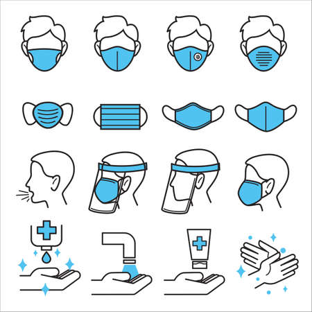 Types of medical masks and levels of covid19 protection Banque d'images - 152037581