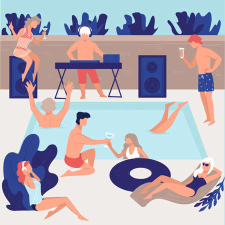 Pool party of friends or vip people vector Banque d'images - 152010799