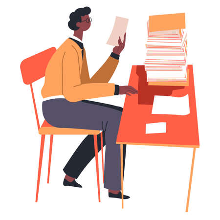 Man reading papers and documents on desk vector Vettoriali